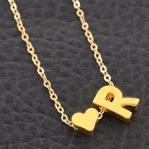Jewelry - Gold R Initial Heart Charm Necklace